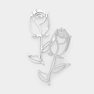 Matte Silver Rose Glass Cut Out Stud Earrings